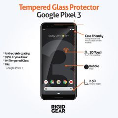 Google Pixel 3 Case Compatible Claer 9H Tempered Glass Screen Protector