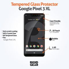 Google Pixel 3 XL Case Compatible Clear 9H Tempered Glass Screen Protector