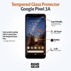 Google Pixel 3A Case Compatible Clear 9H Tempered Glass Screen Protector
