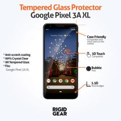 Google Pixel 3A XL Case Compatible Clear 9H Tempered Glass Screen Protector