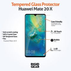 Huawei Mate 20 X Case Compatible Clear 9H Tempered Glass Screen Protector