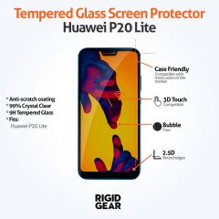 Huawei P20 Lite Anti-Fingerprint 9H 2.5D Ultra Crystal Clear Tempered Glass Screen Protector - Case Compatible