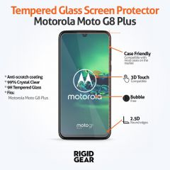 Motorola G8 Plus Case Compatible 9H 2.5D Toughened Tempered Glass Screen Protector