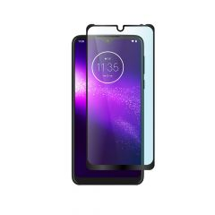 Motorola One Macro Full Coverage Edge to Edge Full Glue Back Tempered Glass Screen Protector - Black