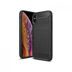 Rigid Gear iPhone XS Max Heavy Duty TPU Gel Case Brushed Carbon Fiber - Black