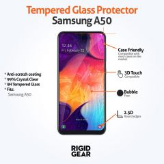 Samsung Galaxy A50 (2019) Case Compatible Clear 9H Tempered Glass Screen Protector