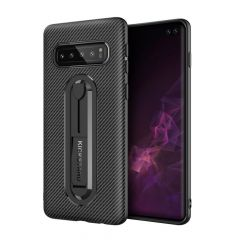 Rigid Gear Carbon Fiber Back Design Cover for Samsung Galaxy S10 Plus S10 S10e with Kickstand Anti Scratch Protective TPU Case
