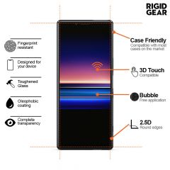Sony Xperia 1 Case Compatible 9H 2.5D Anti-Shatter Anti-Fingerprints Easy To Apply Tempered Glass Screen Protector