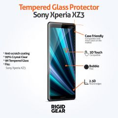 Sony Xperia XZ3 Case Compatible Clear 9H Tempered Glass Screen Protector